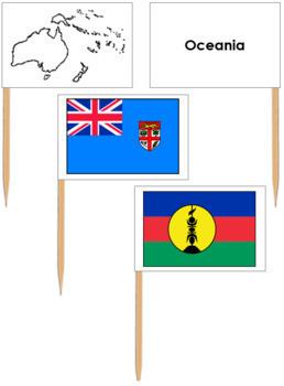 Australasia-Oceania: Pin Map Flags