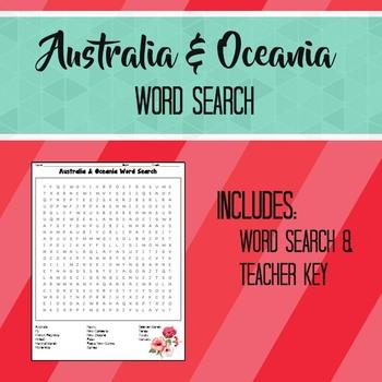 Australia Oceania Word Search