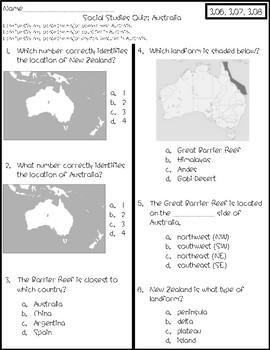 Australia Social Studies Map Quizzes