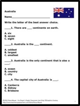 Australia Social Studies Task Cards & Worksheets