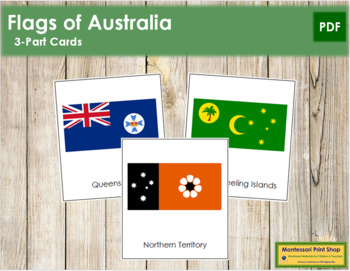 Australian State & Territory Flags: 3-Part Cards