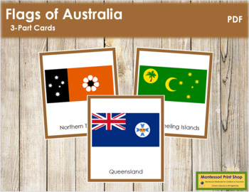 Australian State & Territory Flags: 3-Part Cards (color borders)