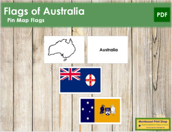 Australian State & Territory Flags: Pin Map Flags
