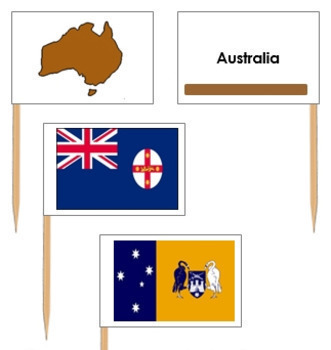 Australia State & Territory Flags: Pin Map Flags (color-coded)