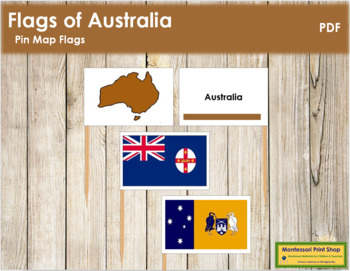 Australian State & Territory Flags: Pin Map Flags (color-coded)