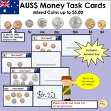 Australia Money Task Cards - Add Mixed Coins to the Value of $5
