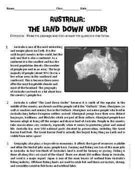 Australia: The Land Down Under ELA Informational Text Test Prep Passage