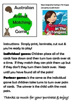 Australia Theme! Australian Animal Card Matching Game For K-2 Fun Activity