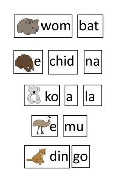 Australia Theme! Australian Animal Syllable GAME for  Literacy Center