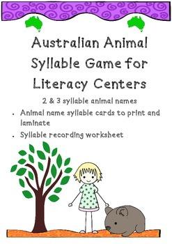 Australia Theme! Australian Animal Syllable GAME for  Lite