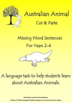 Australia Theme!  Missing word sentences - Australian Animal Theme