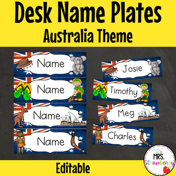 Australia Themed Desk Name Plates | Labels **Editable**