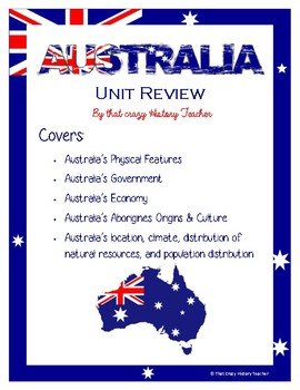 Australia Unit Review Stations / Task Cards