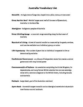 Australia Vocabulary