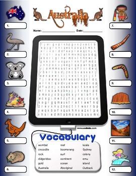 Australia Vocabulary Identify Activity