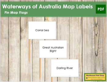 Australian Waterways Map Labels - Pin Map Flags