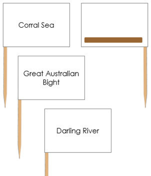 Australian Waterways Map Labels - Pin Map Flags (color-coded)