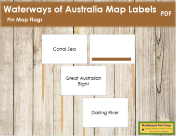 Australia Waterways Map Labels - Pin Map Flags (color-coded)