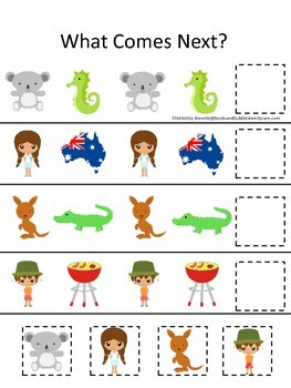 Australia What Comes Next preschool math game.  Printable daycare curriculum.