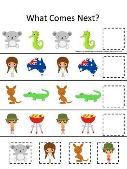 Australia What Comes Next preschool math game.  Printable