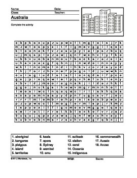 Australia Word Search Printable