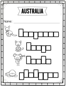 Australian Animals - Write the Room