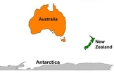 Australia and Antarctica Labeling Map