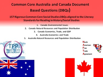 Australia and Canada Document Based Questions - 157 DBQs and 5 Different Topics