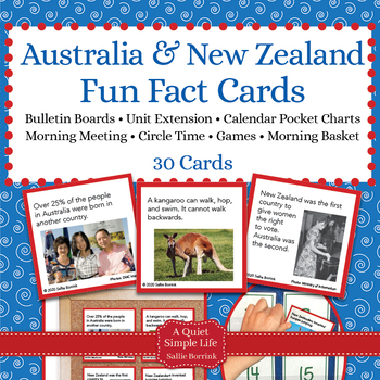 Australia And New Zealand Unit Activity Fact Cards For Game
