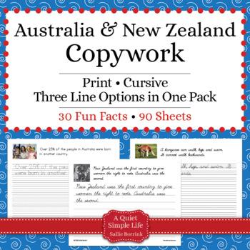 Australia and New Zealand Unit - Copywork - Print and Cursive - Handwriting