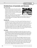 Australia and Oceania Culture: Celebrations