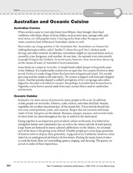Australia and Oceania: Culture: Cuisine