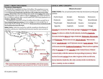 Australia and Oceania (DOK) Leveled Assessment