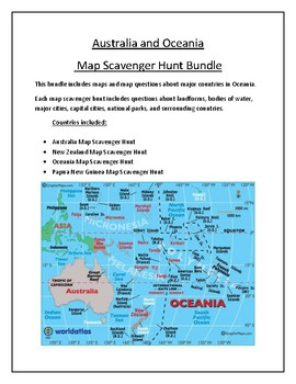 Australia Map Landforms.Australia And Oceania Map Scavenger Hunt Bundle By Mr Matthews