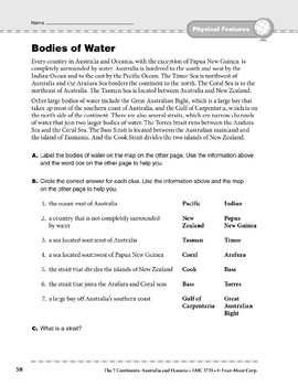Australia and Oceania: Physical Features: Bodies of Water