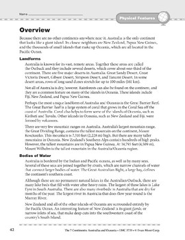 Australia and Oceania: Physical Features: Overview and Review