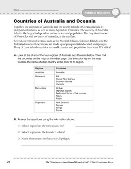 Australia and Oceania: Political Divisions: Countries