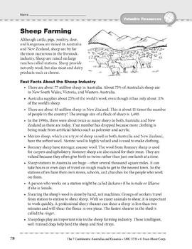 Australia and Oceania: Resources: Sheep Farming