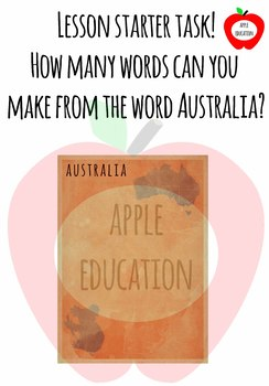 Australia lesson starter handout sheet