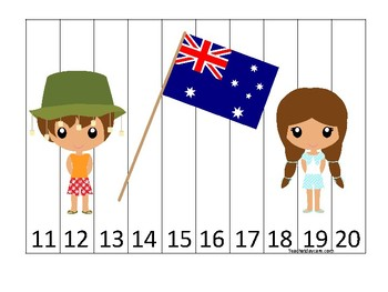 Australia themed 11-20 Number Sequence Puzzle Game. Printable Preschool