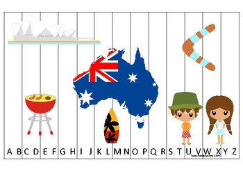 Australia themed Alphabet Sequence Puzzle Game. Printable Preschool Gam