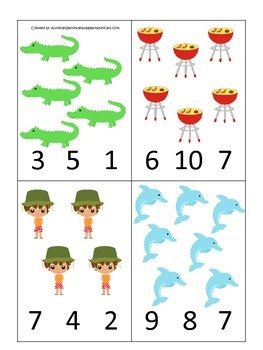 Australia themed Count and Clip preschool math cards.  Daycare child care math.