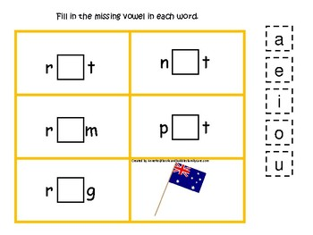 Australia themed Flag CVC Game. Printable Preschool Game