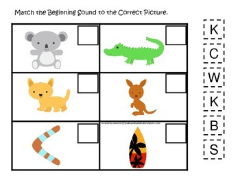 Australia themed Match the Beginning Sound preschool learning game.  Daycare.