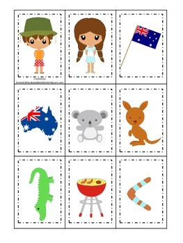 Australia themed Memory Matching preschool learning game.  Daycare.