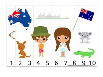Australia themed Number Sequence Puzzle preschool learning game.  Daycare.