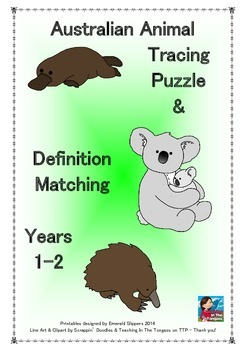 Australian Animal Tracing Puzzle & Definition Clue Matching Juniors
