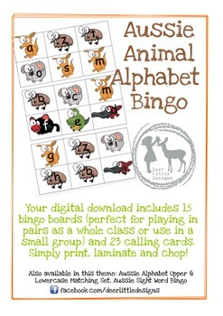 Australian Animal Alphabet Bingo