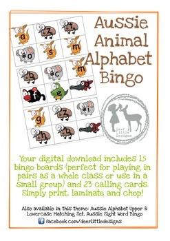 Australian Animal Alphabet Bingo
