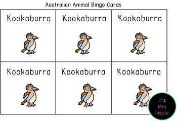 Australian Animal Bingo